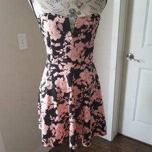 Charlotte Russe Black Pink Floral Skater Dress